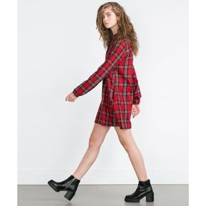 Zara Red Flannel Plaid Button Down Shirtdress